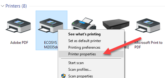 """Right-tap on the printer and select """"Properties"""" followed by choosing """"Print Test Page""""."""