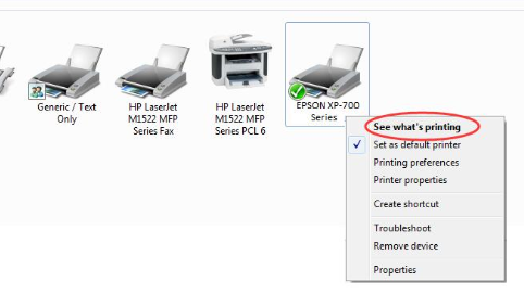 """right-tap on the """"Epson printer"""" after which a list will appear."""