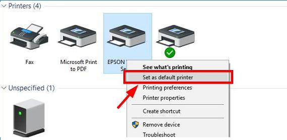 """Set as a Default Printer""."