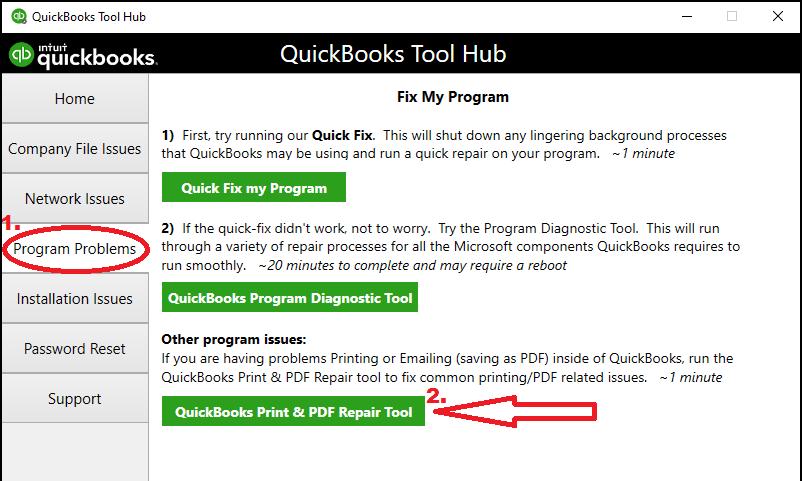Running QuickBooks PDF & Print Repair Tool